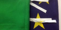 Bandiera Italiana e dell'Unione Europea con fettucce (per balconi e finestre)
