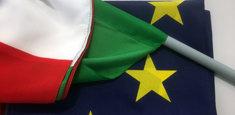 Bandiera Italiana e dell'Unione Europea con tasca per aste di plastica