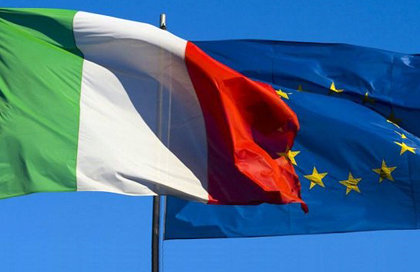 Bandiera Italiana e dell'Unione Europea
