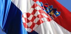 Dettaglio dello stamma croato della bandiera della Croazia in applicazione